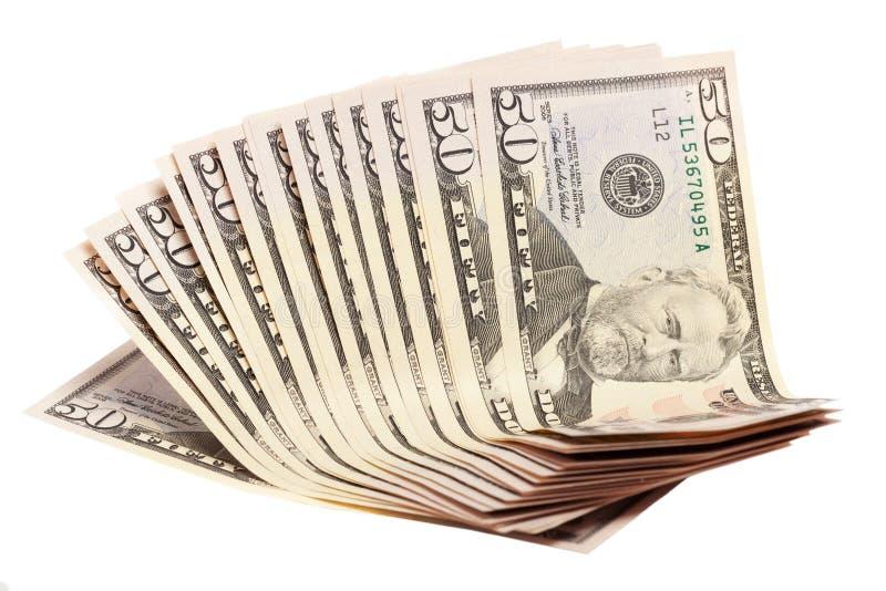 Ein Stapel von fünfzig 50 Dollarscheinen heraus aufgelockert stockfoto