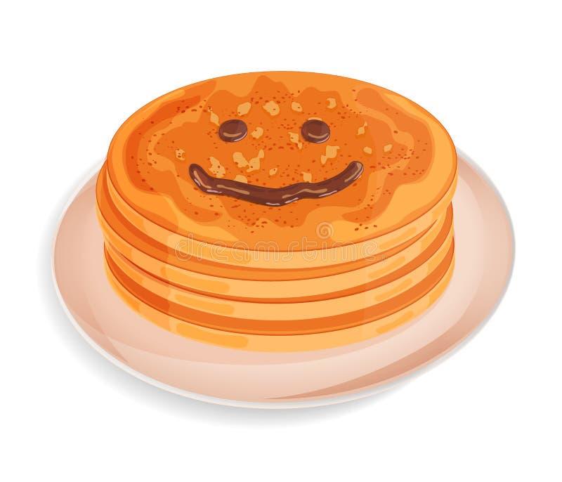 Ein Stapel von Pfannkuchen auf einer Platte Smileygesicht gezeichnet mit Schokoladenbelag 3d übertragen Vektor stock abbildung