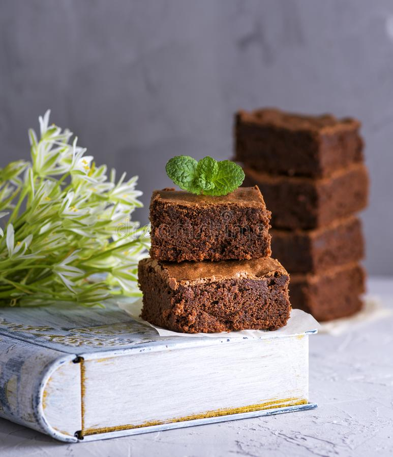 Ein Stapel von quadratischen Stücken des Schokoladenschokoladenkuchens mit einem Zweig der Minute lizenzfreies stockfoto