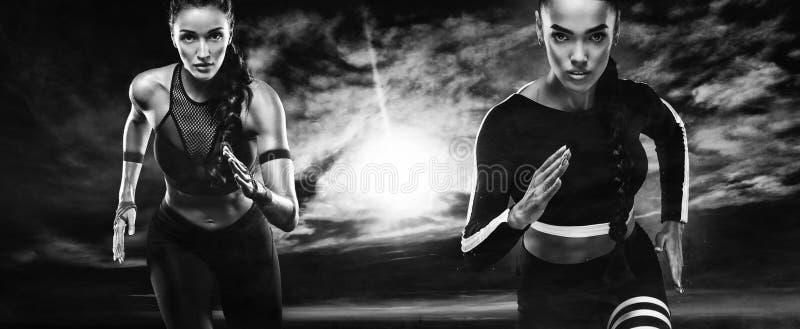 Ein starker athletischer, Frauensprinter, laufendes Tragen im Freien in der Sportkleidungs-, Eignungs- und Sportmotivation läufer stockfotografie