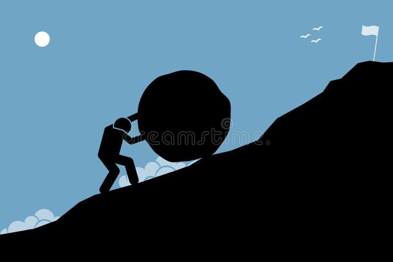 Ein starker Mann, der einen großen Felsen herauf den Hügel drückt, um das Ziel auf die Oberseite zu erreichen vektor abbildung
