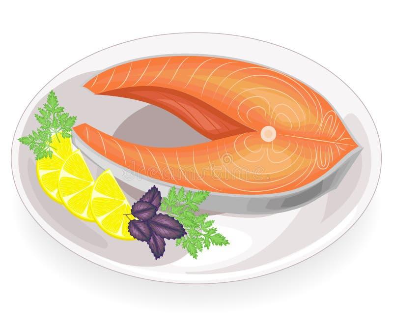 Ein Steak von den roten Fischen gegrillt auf einer Platte Garnierungszitrone, -petersilie, -dill und -basilikum Geschmackvolle, k vektor abbildung