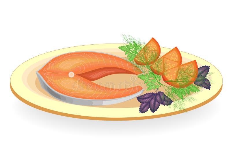 Ein Steak von den roten Fischen gegrillt auf einer Platte Schmücken Sie die Gurke Tomate, Zwiebel, Petersilie, Dill und Basilikum vektor abbildung
