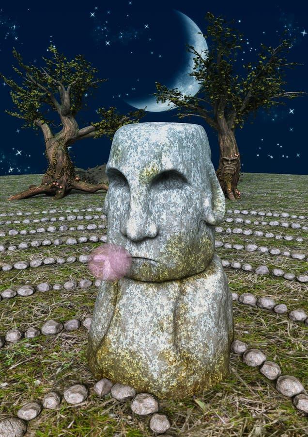 Ein Steinkopf mit einem bubblegum stock abbildung
