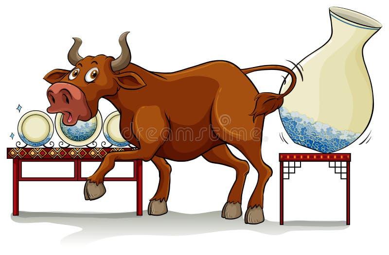 Ein Stier in einem China-Shop lizenzfreie abbildung