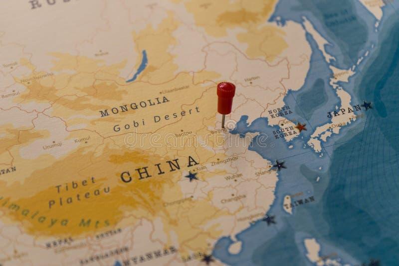 Ein Stift von einer Karte von Peking, Porzellan stockbilder