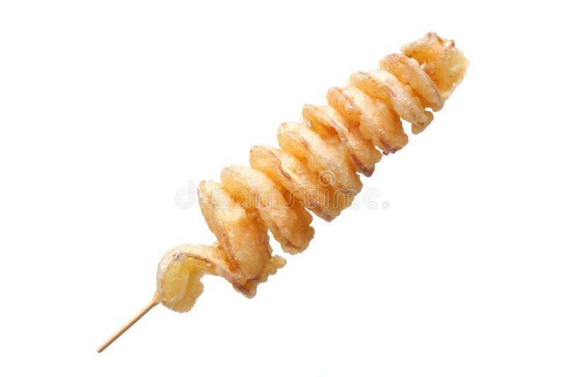 Ein Stock der Spirale gebratenen Kartoffel stockfotos