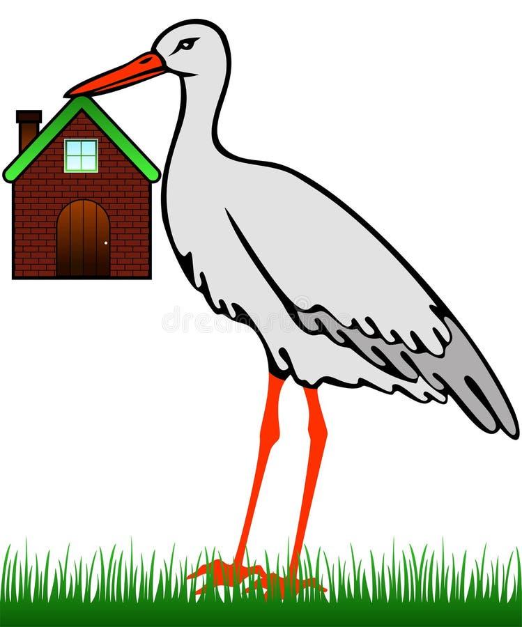 Ein Storch mit einem Haus lizenzfreie abbildung