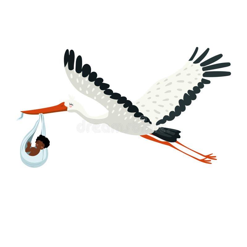 Ein Storch trägt ein Bündel mit einem Baby in seinem Schnabel Vektorgraphik lokalisiert auf wei?em Hintergrund stock abbildung