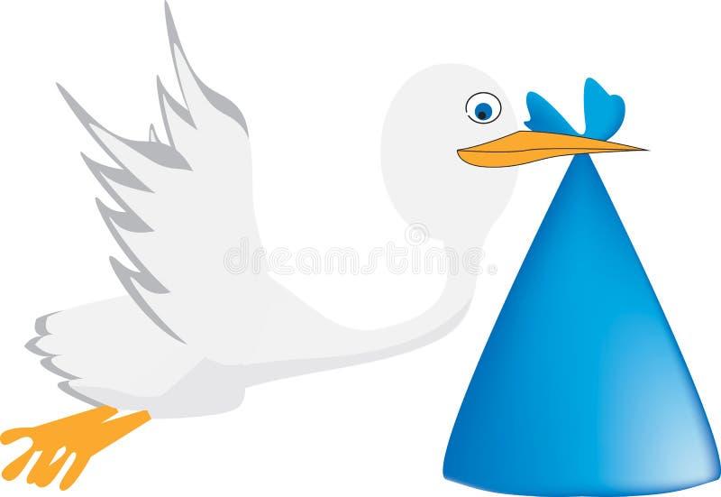 Ein Storch trägt ein Baby vektor abbildung