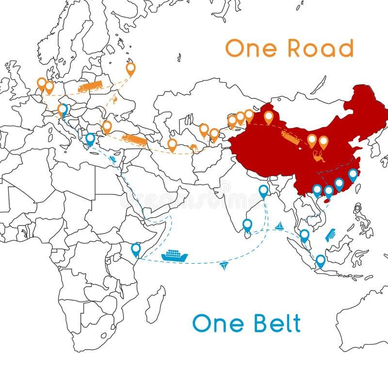 Ein Straßen-neues Seidenstraßekonzept des Gurt-einer Zusammenhang und Zusammenarbeit des 21. Jahrhunderts zwischen eurasischen Lä lizenzfreie abbildung