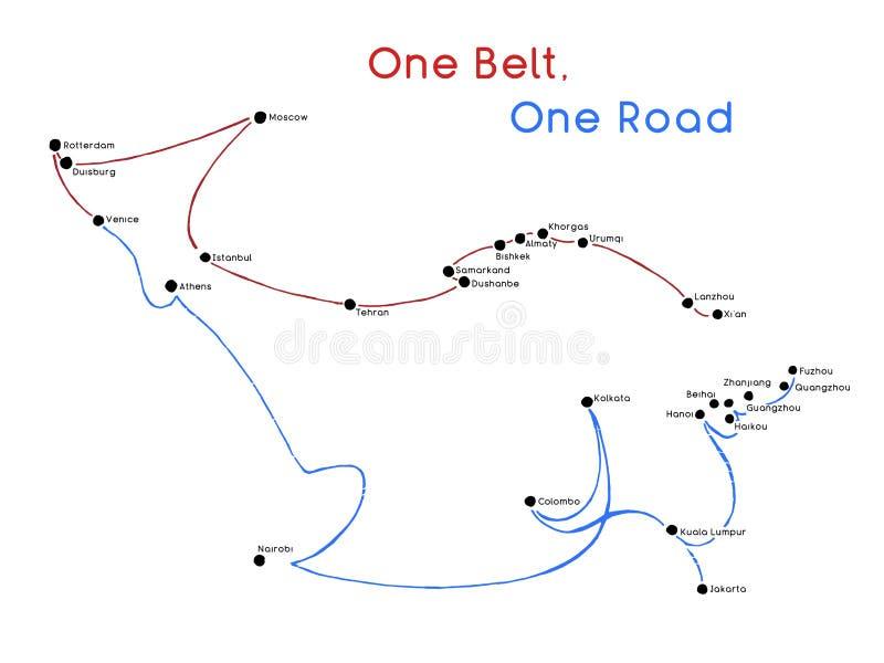 Ein Straßen-neues Seidenstraßekonzept des Gurt-einer Zusammenhang und Zusammenarbeit des 21. Jahrhunderts zwischen eurasischen Lä vektor abbildung