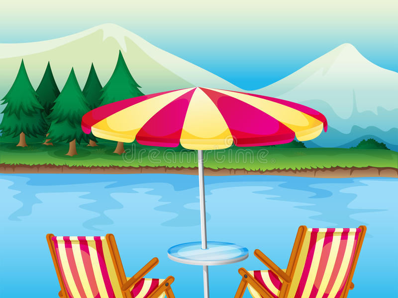 Ein Strandschirm mit Stühlen vektor abbildung