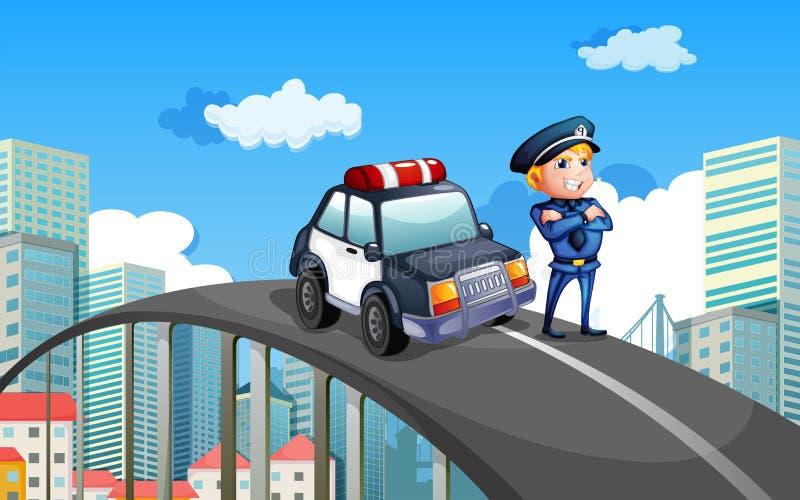 Ein Streifenwagen und ein Polizist in der Mitte der Landstraße vektor abbildung