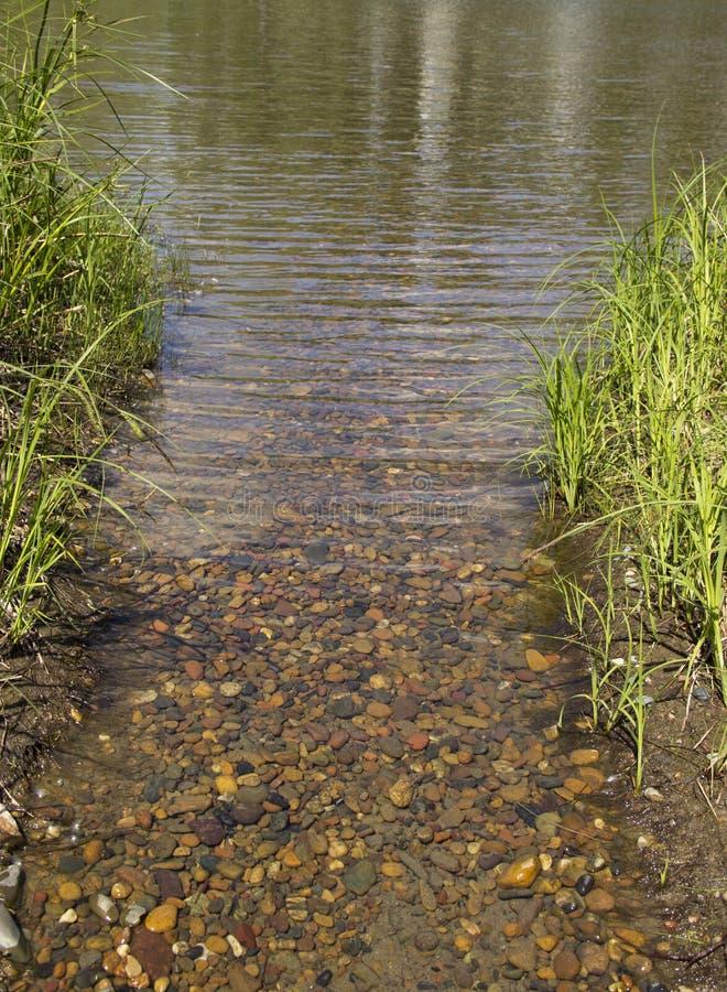 Ein Strom des Wassers fließend in den Fluss stockbild