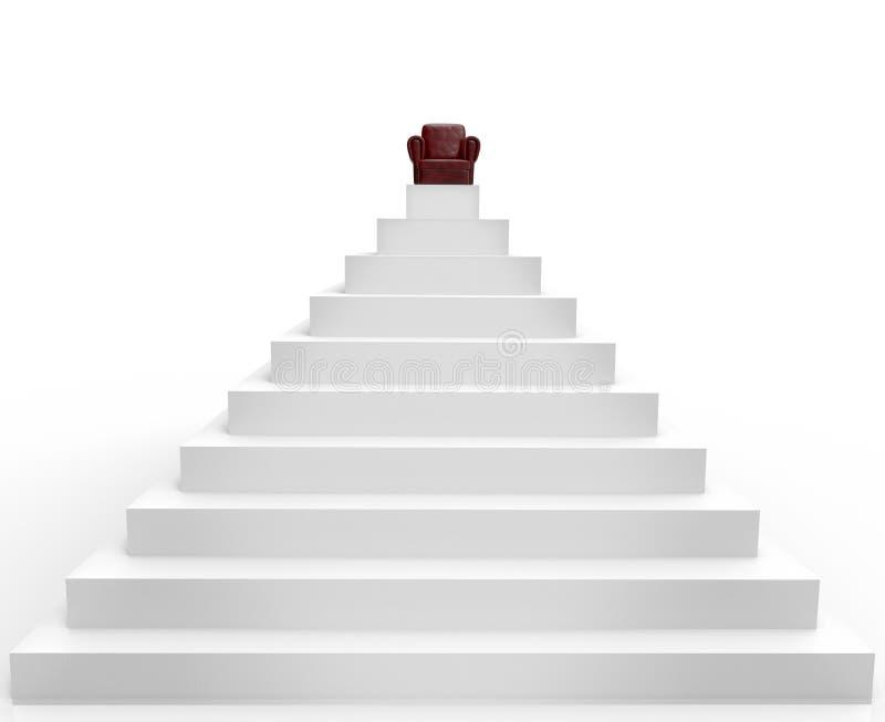 Ein Symbol des Erfolgs ist ein Lehnsessel auf die Pyramide stock abbildung