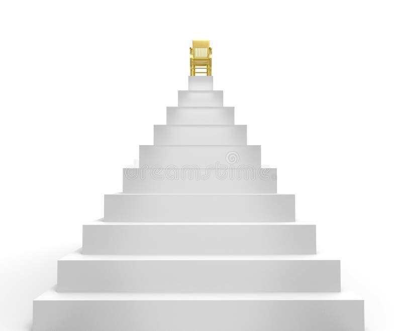 Ein Symbol des Erfolgs ist ein Stuhl auf die Pyramide stock abbildung
