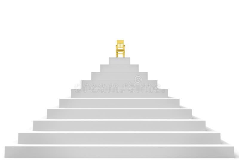 Ein Symbol des Erfolgs ist ein Stuhl auf die Pyramide vektor abbildung