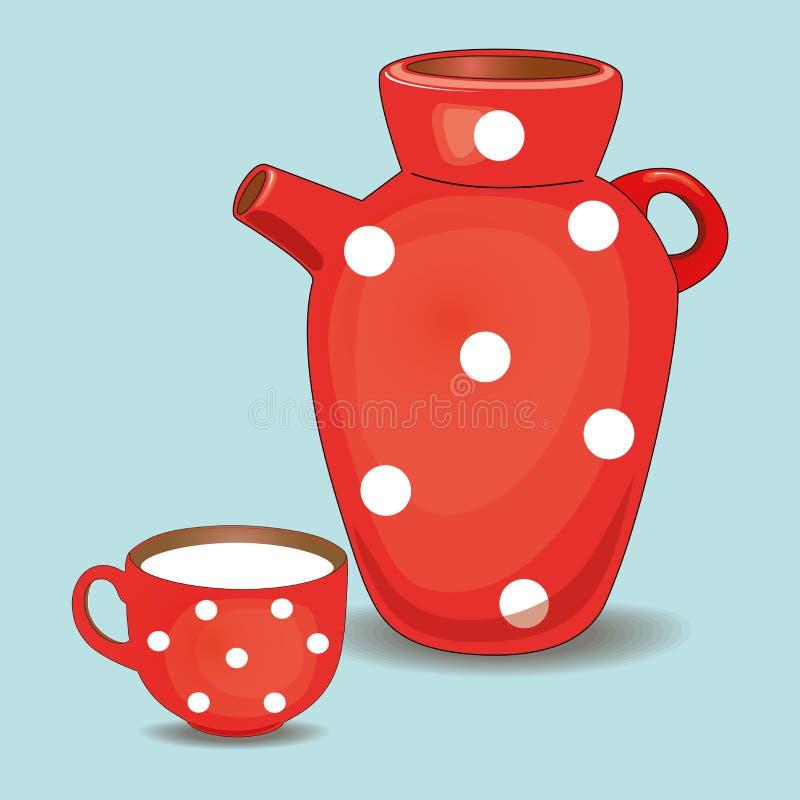 Ein Töpferwarenpitcher Milch und ein Becher lokalisiert auf einem weißen Hintergrund Karikaturvektornahaufnahme stock abbildung