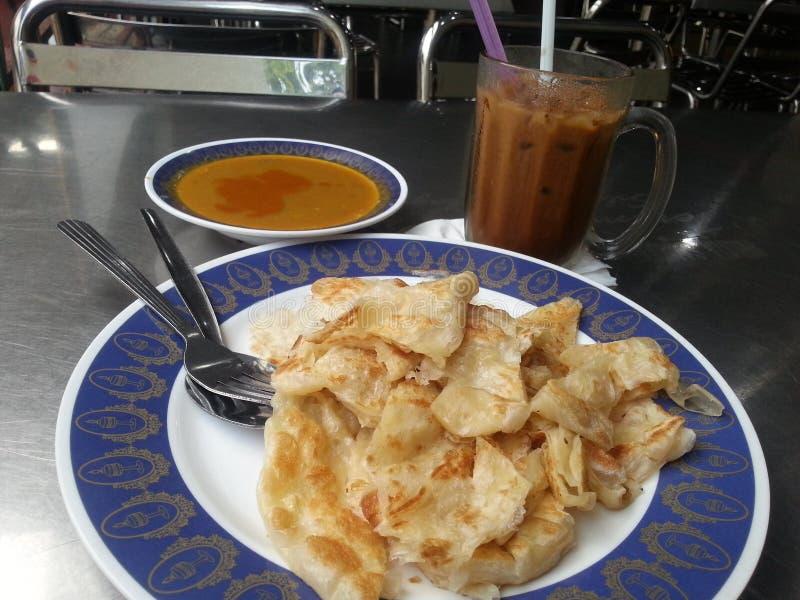 Ein Tag essen Malaysia-roti canai und das Kopiping lizenzfreies stockbild