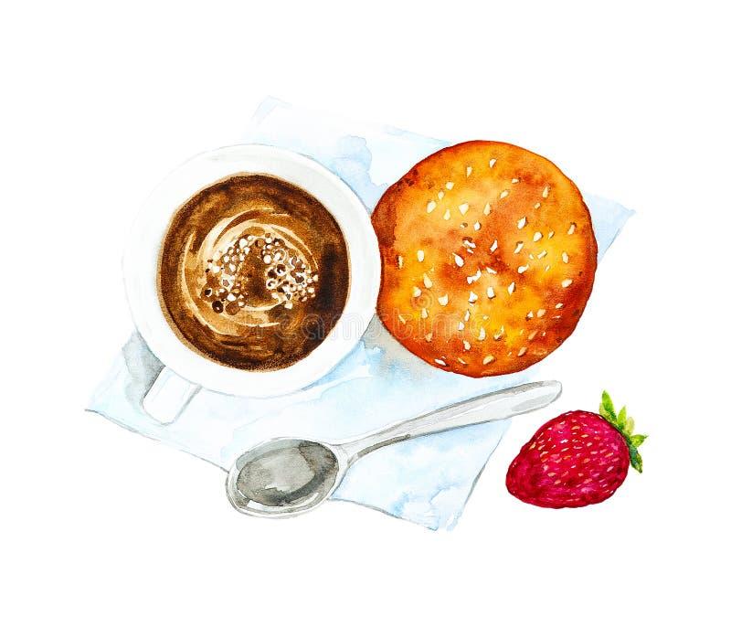 Ein Tasse Kaffee, ein Löffel, ein Brötchen und Erdbeeren auf einer blauen Serviette Die Ansicht von der Oberseite Aquarellillustr stockfoto