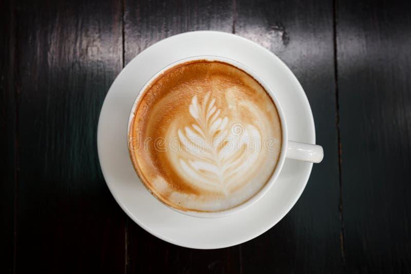Ein Tasse Kaffee Latte, Draufsicht lizenzfreie stockfotos