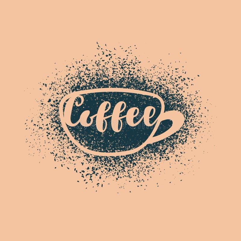 Ein Tasse Kaffee mit einer Aufschrift stock abbildung