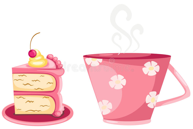 Ein Tasse Kaffee- und Cupkuchen stock abbildung