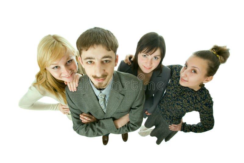 Ein Team der jungen Leute. Draufsicht. stockfotografie