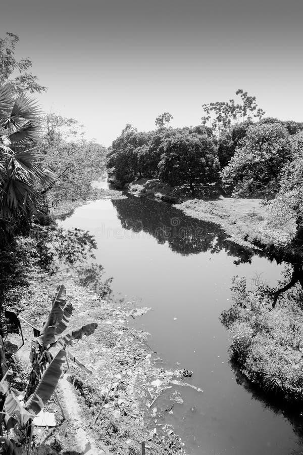 Ein Teich im indischen Dorf stockbild