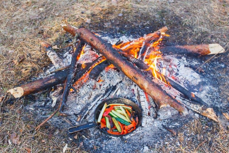 Ein Teller des roten grünen Pfeffers und der Gurken in einer Wanne auf einem Feuer stockfotos