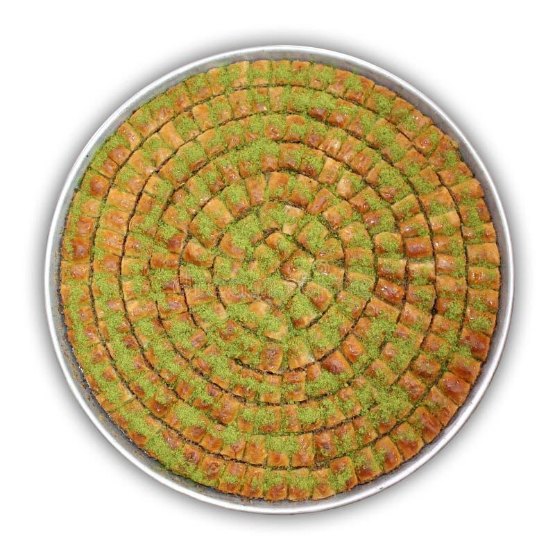 Ein Tellersegment von Baklava - einschließlich Ausschnittspfad lizenzfreie stockfotografie