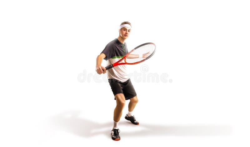 Ein Tennisspieler lokalisiert auf weißem Hintergrund stockbild