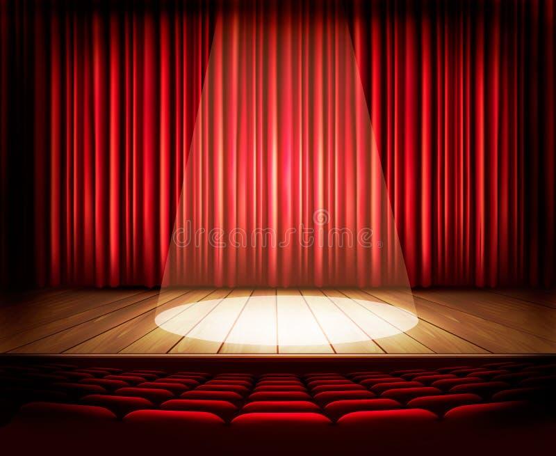 Ein Theaterstadium mit einem roten Vorhang, Sitzen und einem Scheinwerfer stock abbildung