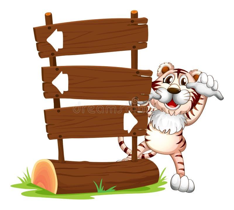 Ein Tiger, der an der Rückseite eines Schildes sich versteckt lizenzfreie abbildung