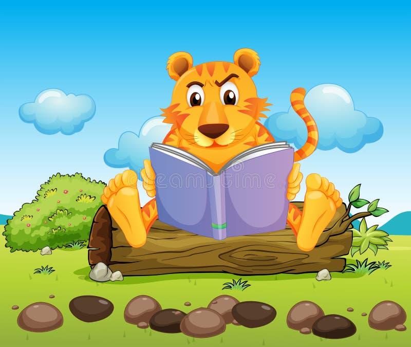 Ein Tiger, der ernsthaft ein Buch liest stock abbildung