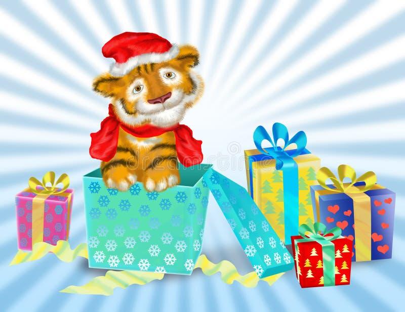 Ein Tigerjunges sitzt nahe Kästen mit Geschenken vektor abbildung