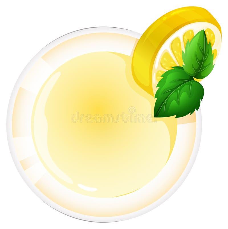 Ein topview eines Glases mit einem Zitronensaft lizenzfreie abbildung