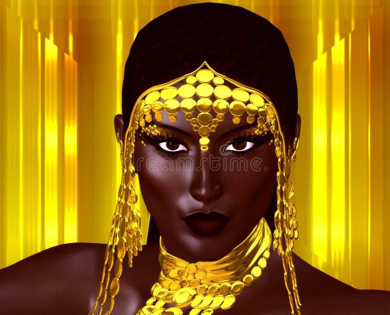 Ein tragender Schmuck der schönen jungen Afrikanerin Goldgegen einen Goldzusammenfassungshintergrund Eine einzigartige digitale K stock abbildung
