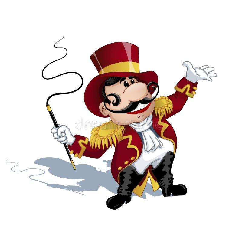 Ein Trainer mit einem Schnurrbart in einer roten Uniform mit Goldepauletten, ein Hut auf seinem Kopf, eine Peitsche in seinen Hän lizenzfreie stockfotos