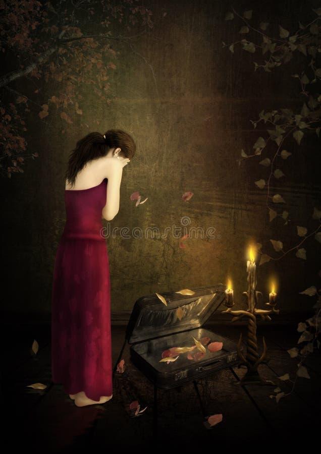 Ein trauriges Mädchen angesichts der Kerzen unterbrochene Träume lizenzfreie stockbilder