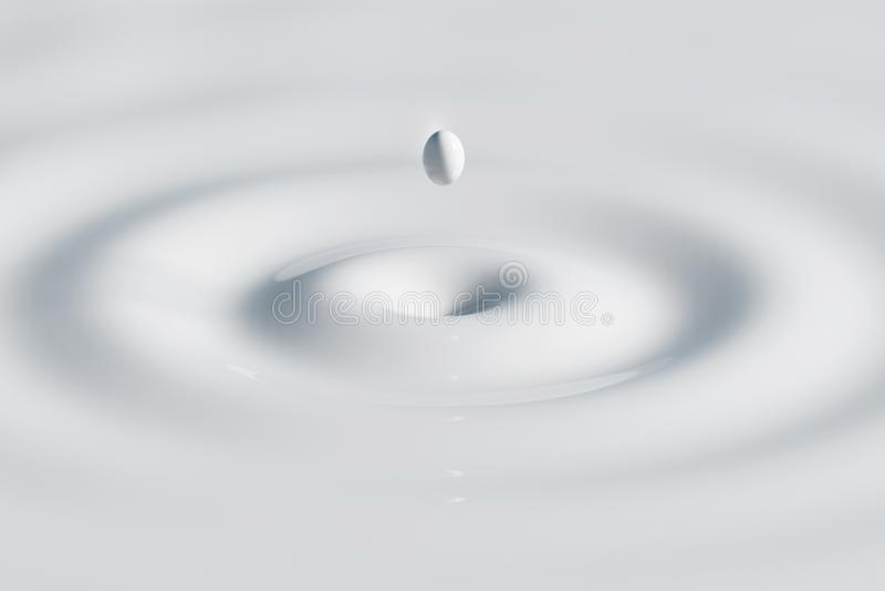 Ein Tropfen der weißen Milch fallend auf die Oberfläche und eine Scheidung schaffend - Illustration 3D stock abbildung