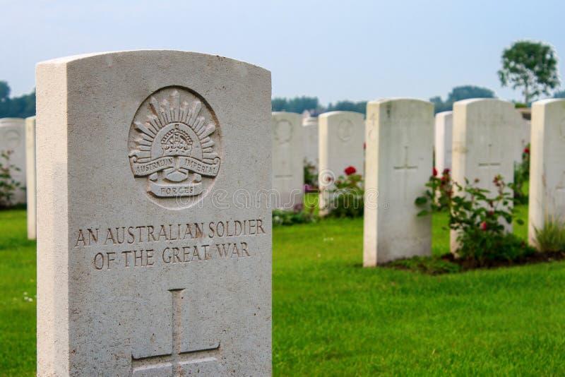 Ein unbekannter australischer Soldat des großen Ersten Weltkrieges stockbild