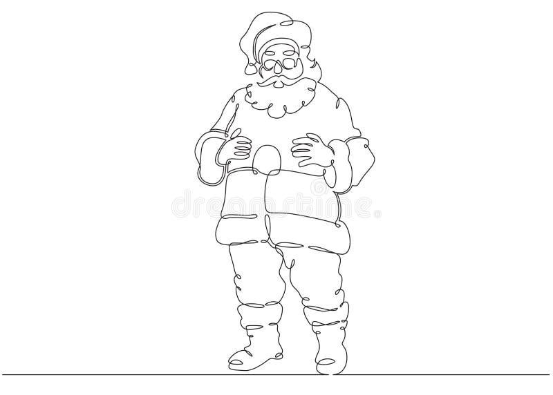 Ein ununterbrochener gezeichneter Gekritzelcharakter Santa Claus der einzelnen Zeile stock abbildung