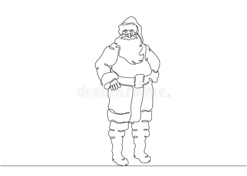 Ein ununterbrochener gezeichneter Gekritzelcharakter Santa Claus der einzelnen Zeile lizenzfreie abbildung