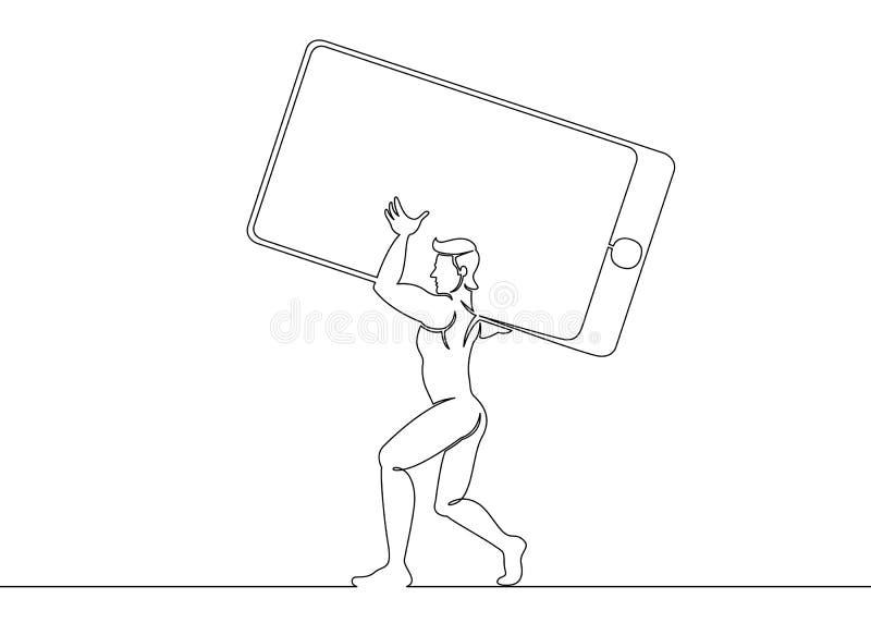 Ein ununterbrochener gezeichneter Mann der einzelnen Zeile trägt einen großen Handy vektor abbildung