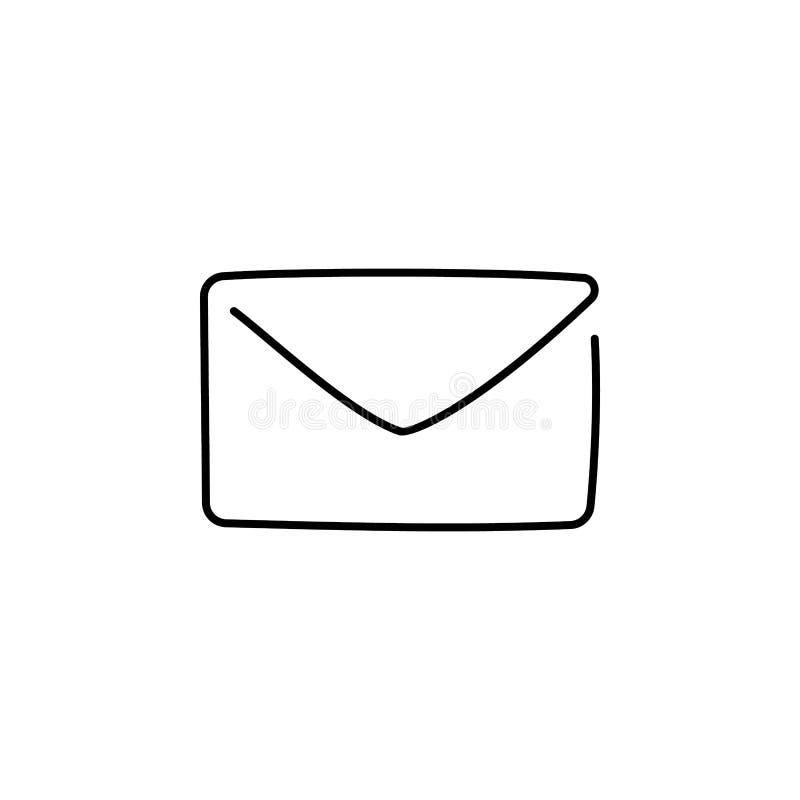 Ein ununterbrochenes Federzeichnung E-Mail-Ikone lokalisiert auf weißem Hintergrund Illustration des Vektors EPS10 für Fahne, Net stock abbildung