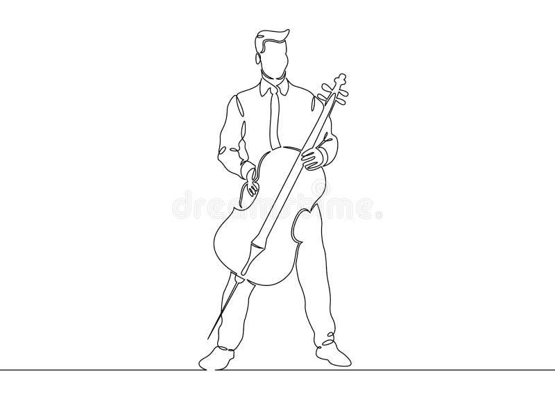 Ein ununterbrochenes sondern gezogene einzelne Zeile eines Musikers wird gespielt von einem Cellistmann aus stock abbildung