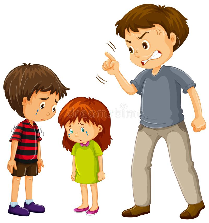 Ein Vater beschweren sich Kinder stock abbildung