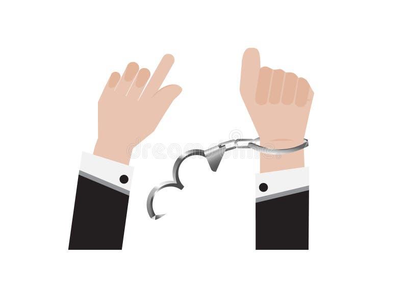 Ein Vektor der Freiheitshand von der Handschelle verbunden vom Gefangenen oder vom Geschäftsmann in der hinteren Klage und der fe stock abbildung